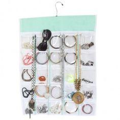 Porta Bijuteria com Cabide Organizador de Jóias, Bijoux e Acessórios 25 Bolsos