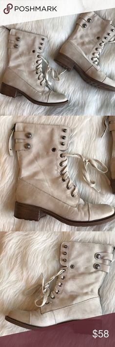 Sam Edelman Ivory Combat Boots Leather Suede Used so they have scuffing, the Ivory color is dirty, but still wearable! Zips up the back or laces in the front Sam Edelman Shoes Combat & Moto Boots