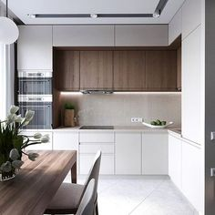 : Minimalist Kitchen Ideas Beautiful Simple and Minimalism Styled. Find the best ideas for your minimalist style kitchen that suits your taste. Browse for amazing pictures of minimalist style kitchen for inspiration. Luxury Kitchen Design, Kitchen Room Design, Contemporary Kitchen Design, Kitchen Layout, Home Decor Kitchen, Interior Design Kitchen, Home Kitchens, Modern Contemporary, Tuscan Kitchens
