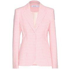 Altuzarra Fenice Gingham Cotton Jacket ($915) ❤ liked on Polyvore featuring outerwear, jackets, blazers, jackets and blazers, pink, cotton jacket, pink jacket and altuzarra