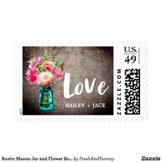 "Rustic Mason Jar and Flower Bouquet ""Love"" Wedding Postage These rustic mason jar and flower bouquet ""love"" wedding postage stamps are perfect for a floral country theme wedding. The design features an elegant arrangement of blush pink watercolor peonies and wildflowers in a blue mason jar on a wood textured background. Personalize the stamps with the name of the bride and groom."