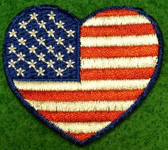A personal favorite from my Etsy shop https://www.etsy.com/listing/474944411/american-flag-heart-embroidered-patch