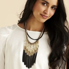 "Stella & Dot Lilith Fringe Necklace Stella & Dot stunning statement piece! Mixed steel and oval faceted brass rings. 16 1/4 length plus 2"" extender. NWT in box. Stella & Dot Jewelry Necklaces"