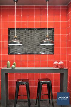 Be bold and beautiful with subway tile #subwaytile #walltile #colorfulkitchen #kitchentile