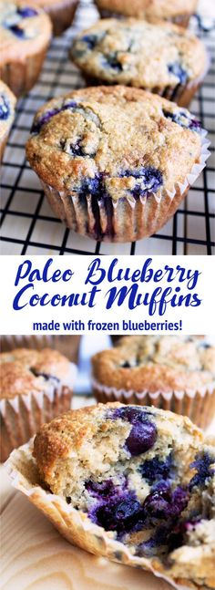 Healthy and delicious blueberry coconut muffins! Made with frozen blueberries, they are so easy to make! Paleo, gluten free, and dairy free.