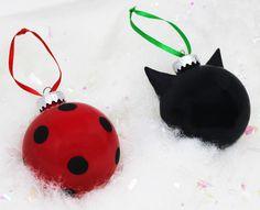 Inspired Ladybug and Cat Noir Christmas Ornaments Set by Black Flower Store.  #miraculousladybug #catnoir #chatnoir #christmasornaments