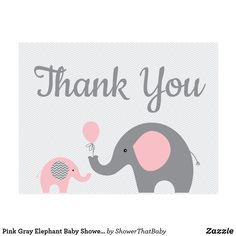 Pink Elephant Baby Shower Thank You Cards Flat - thank you gifts ideas diy thankyou Grey Baby Shower, Baby Shower Fun, Guestbook, Baby Shower Printables, Baby Shower Invitations, Bingo, Banner, Baby Shower Thank You Cards, Thank You Postcards