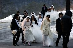 3,500 couples exchanged vows in a mass wedding held in South Korea.