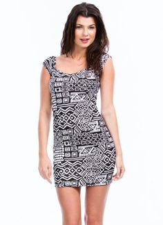 Tribal Off-The-Shoulder Bodycon #Dress