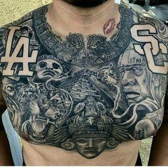 tattoos for men tattoos, chest piece tattoos, aztec tattoo. Cool Chest Tattoos, Chest Piece Tattoos, Pieces Tattoo, Badass Tattoos, Tattoos For Guys, Art Chicano, Chicano Art Tattoos, Body Art Tattoos, Irezumi Tattoos