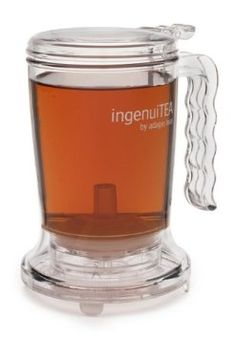 Ingenuitea Teapot $14.22 - just put the tea leaves in the container, add hot water, let it sit for 5 minutes, then set it on top of my cup. The valve on the bottom opens up and the tea pours into the cup, with out the leaves