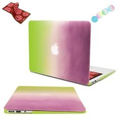 "MacBook Air 13 Case, Vimay Rainbow AIR 13-inch Soft-Touch Plastic Hard Shell Snap On Case Cover for Apple MacBook Air 13.3"" (A1466 & A1369), Purple&Green"