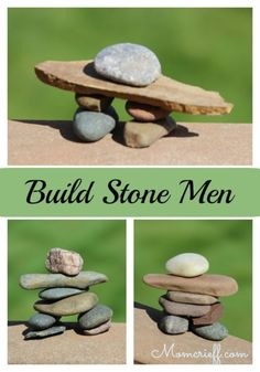 Build stone men as a fun and relaxing activity for you and the kids. It doesn't cost anything and doesn't take much time. These stone men are known as Inuksuk in Canada. Cabin Activities, Summer Activities, Relaxation Activities, Nature Activities, Outdoor Activities, Stone Crafts, Rock Crafts, Summer Crafts, Summer Fun