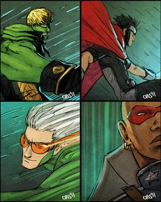 4 youngs by Cris-Art on DeviantArt Young Avengers, New Avengers, Marvel Comic Character, Marvel Characters, Marvel Dc, Marvel Comics, Wiccan Marvel, Superhero Art Projects, Teddy Altman