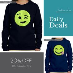 Today Only! 20% OFF this item.  Follow us on Pinterest to be the first to see our exciting Daily Deals. Today's Product: Black Women Winking Face Emoji Sweatshirt Buy now: http://djm-embroidery-shop.myshopify.com/products/black-women-winking-face-emoji-sweatshirt?utm_source=Pinterest&utm_medium=Orangetwig_Marketing&utm_campaign=20%25%20Off%20Ladies%20Emoji%20Sweatshirt   #musthave #loveit #instacool #shop #shopping #onlineshopping #instashop #instagood #instafollow #photooftheday…