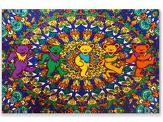 """Grateful Dead - Psychedelic Bears Fleece Blanket  Grateful Dead Dancing Bears with a psychedelic flowers collage background. This super soft Grateful Dead fleece blanket is warm, durable, and easy to care for. Great for a throw in the living room or den, extra blanket in the bedroom, bring it to concerts to sit on, or in a dorm room.  Blanket measures 45"""" x 60"""". Officially licensed Grateful Dead merchandise. #sunshinedaydream #hippieshop"""