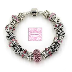Pink Heart European Large Hole Charm Bracelet With Crystal Murano Glass Beads,Bracelet 925 Sterling Silver,Gift for her AA-51+Free Shipping