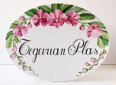 Placa de porcelana ovalada con orquídeas placa por DipintoAdArte