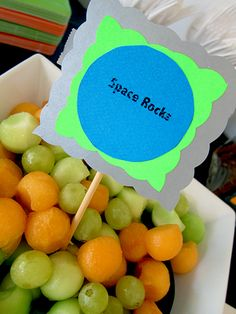 melon and grapes...use melon baller and small plastic cups