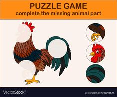 Cute rooster cartoon complete the puzzle Vector Image Fun Activities For Toddlers, Science For Kids, Infant Activities, Preschool Activities, Activities For Kids, Dots And Boxes, Logos Retro, School Worksheets, Kindergarten Writing
