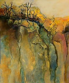 """Mixed Media Artists International: Abstract Mixed Media Landscape Art Painting """"Color Study 5"""" by Colorado Mixed Media Abstract Artist Carol Nelson"""