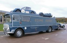 Vehicles from Scotland's Le Mans winning racing team to be auctioned. Eight vintage vehicles, including Ecurie Ecosse's famous car transporter to go under the hammer. Classic Race Cars, Classic Trucks, Le Mans, Cadillac, Old Trucks For Sale, Mobile Workshop, Old Lorries, Car Carrier, Busse