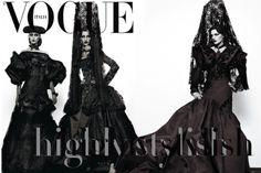"Vogue Italia Cover. ""Mantillas, Peinetas y Monteras"", traditional spanish clothes for Dior. Photographs by Steven Klein.Follow: Love-Spain"