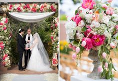 An outdoor San Diego wedding is every bride's first choice. This stylish garden-inspired tent wedding began with winding willow and garden rose vines imbued with antique green hydrangea and an ethereal collection of flowers embellishing the bleached wood trellis, set on the terrace of Rancho Valencia Resort. Photos: Samuel Lippke Studios. Wedding Coordinator: Thomas Bui Lifestyle. Florals: Adorations Botanical Artistry.