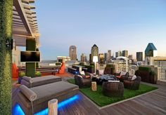 """rooftop deck with """"synthetic grass""""/astroturf by Conservation Grass"""