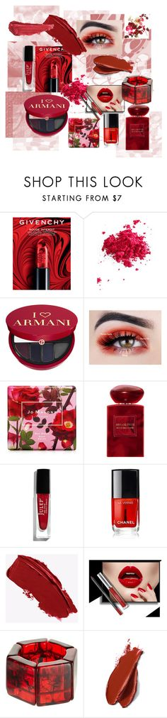 """""""red makeup"""" by tanjaa66 ❤ liked on Polyvore featuring beauty, Givenchy, Obsessive Compulsive Cosmetics, Sephora Collection, Jo Malone, Giorgio Armani, Julep, Chanel, Jackie Brazil and Balmain"""
