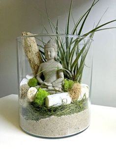 Items similar to Large air plant terrarium - glass vase Living decor DIY kit - gift for any occasion- Buddha zen decor on Etsy Terrariums Diy, Air Plant Terrarium, Garden Terrarium, Deco Zen, Buddha Decor, Meditation Garden, Meditation Space, Buddha Zen, Deco Floral