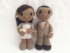 Crochet wedding couple bride and groom by AdventuresInYarnia. (Made to order).