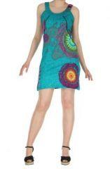Robe ethnique et colorée turquoise Fatika sur www.akoustik-online.com.