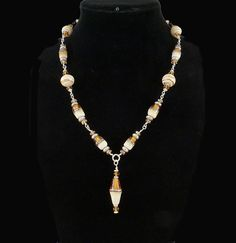 Ivory and topaz lampwork bead necklace by Dinglefritz, $88.00 USD