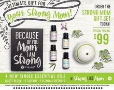 """Who loves Essential Oils & their Mama?? ✨Looking for the perfect Mother's Day present?? We have it‼️  ✳️ 4 Oils (Lavender, Eucalyptus, Lemon, and Tea Tree!) ✳️ ItWorks Diffuser - ours has a USB port and can even be plugged into your car!! How cool is that??  ✳️ 4 """"Strong Like Mom"""" tattoos for the littles to wear around  ✳️ Beautiful """"Because of you mom, I am strong"""" wooden sign  What mom wouldn't fall in love with that!?! This is ONLY available until May 15th and will sell out soon, so ACT"""