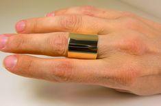 "10 Karat Yellow Gold Wide Band - 10K 3/4"" Wide Ring - Super Wide 10K Yellow Gold Ring - Pure 10K Statement Ring - Extra Wide Gold - Unisex"