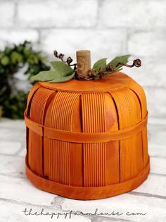 Turn a Bushel Basket into a Pumpkin Pumpkin Crafts, Diy Pumpkin, Cute Pumpkin, Pumpkin Carving, Spiced Pumpkin, Fall Crafts, Holiday Crafts, Pumpkin Vine, Pumpkin Leaves