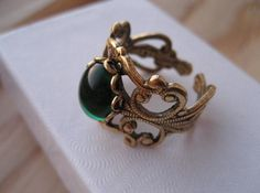 Antique gold plated filigree ring.  Emerald green stone. by pnpvintagegeneral on Etsy