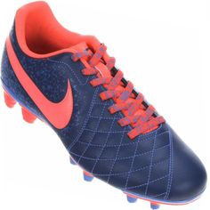 Chuteira Nike Flare 2 FG Campo Masculina Azul / Rosa