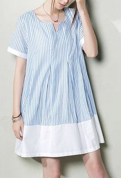 Baby blue plus size sundress natural linen clothing oversize summer shirt dresses Simple Dresses, Casual Dresses For Women, Pretty Dresses, Short Dresses, Casual Outfits, Clothes For Women, Loose Dresses, Plus Size Sundress, Refashioned Clothes