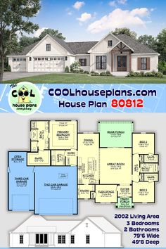 This charming farmhouse plan offers open living space with elevated ceilings in the great room, a large walk-in pantry, Jack and Jill bathroom, informal dining space with view, and a flex space. The primary suite boasts an oversized closet and bath with separate vanities. The third car garage also includes an open storage/workshop area. Outside a large covered rear porch awaits you. If you are ready to build, search our collection for you next home building plan at COOL House Plans. Farmhouse Floor Plans, Country Farmhouse, Porch Storage, Diy Crafts For Home Decor, House Blueprints, Best House Plans, New Home Designs, House Layouts, Next At Home