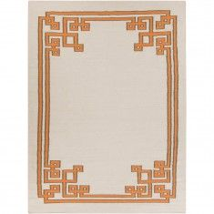 Flat-weave rugs can be made in different designs & Colors. Pictured: Quad Greek-key design in yellow/orange & cream.