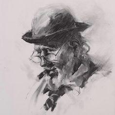 JJ Jiang. Old Man with Cigar. Charcoal drawing.