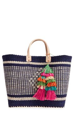 Mar y Sol 'Ibiza' Woven Tote with Tassel Charms available at #Nordstrom