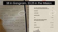 Coffee shop comparison in #gangnam #seoul vs. #mission #san francisco
