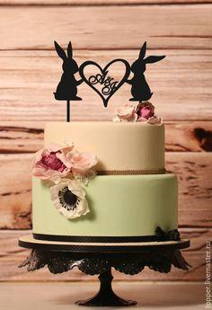 Купить Свадебный топпер на торт с инициалами, 16 см, буквы на торт - черный, топпер, торт