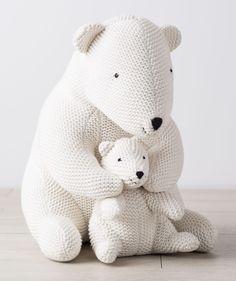 Mama and baby polar bear snuggle sweetly together. Adorable decor for every nursery. From Hallmark Baby.