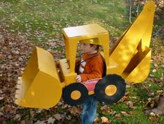 Parenting.com mom Jennifer from Washington made this backhoe loader costume for her son for #Halloween.