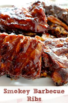 Smokey Barbecue Ribs ~ Smokey, Tender Ribs Loaded in a Homemade Barbecue Sauce! Read more at http://www.julieseatsandtreats.com
