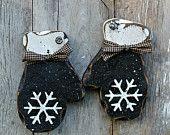 Primitive Wood Holiday Decor, Rustic Winter Decor, BLACK mittens